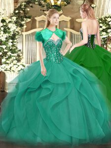 Cheap Sleeveless Tulle Floor Length Lace Up 15 Quinceanera Dress in Turquoise with Beading and Ruffles