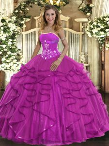 Fuchsia Strapless Lace Up Beading and Ruffles 15th Birthday Dress Sleeveless