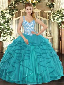 Gorgeous Sleeveless Lace Up Floor Length Beading and Ruffles 15 Quinceanera Dress