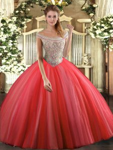 Luxurious Off The Shoulder Sleeveless Lace Up Vestidos de Quinceanera Coral Red Tulle