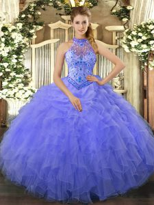 Blue Lace Up Halter Top Beading and Embroidery and Ruffles Quinceanera Dresses Organza Sleeveless