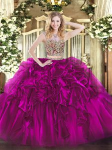 Glittering Fuchsia Sleeveless Organza Lace Up Sweet 16 Quinceanera Dress for Military Ball and Sweet 16 and Quinceanera
