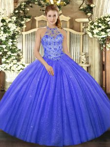 Tulle Halter Top Sleeveless Lace Up Beading and Embroidery Quinceanera Dress in Blue