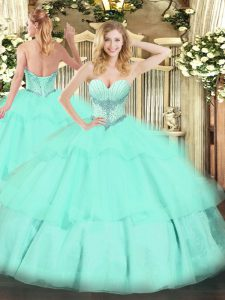 Apple Green Sleeveless Floor Length Beading and Ruffled Layers Lace Up Quinceanera Gowns
