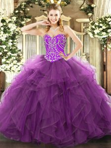 High Quality Purple Sweetheart Lace Up Beading and Ruffles 15th Birthday Dress Sleeveless