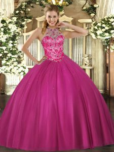 Fitting Satin Sleeveless Floor Length Quinceanera Dress and Beading