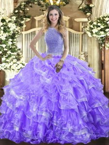 Customized Sleeveless Floor Length Beading and Ruffled Layers Lace Up Quince Ball Gowns with Lavender