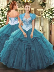 Suitable Teal Sweetheart Neckline Beading and Ruffles Quinceanera Dress Sleeveless Lace Up