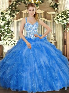 Stylish Ball Gowns Vestidos de Quinceanera Blue Straps Organza Sleeveless Floor Length Lace Up