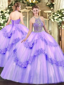Best Sleeveless Lace Up Floor Length Beading and Appliques Quinceanera Gowns