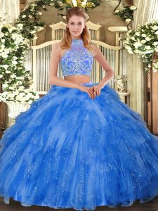 Teal Criss Cross Halter Top Beading and Ruffles 15th Birthday Dress Tulle Sleeveless