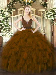 Flirting Straps Sleeveless Zipper Quinceanera Dresses Brown Organza