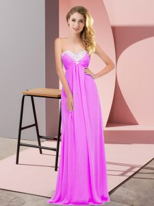 Chiffon Sweetheart Sleeveless Lace Up Ruching Prom Party Dress in Lilac