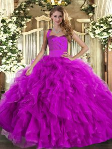 Dynamic Fuchsia Sleeveless Floor Length Ruffles Lace Up Sweet 16 Dress