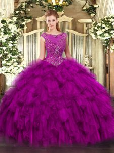 Floor Length Zipper Sweet 16 Quinceanera Dress Fuchsia for Military Ball and Sweet 16 and Quinceanera with Beading and Ruffles