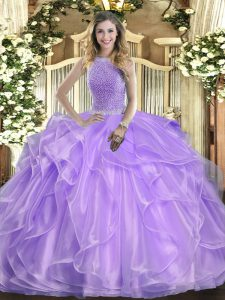 Free and Easy Sleeveless Floor Length Beading and Ruffles Lace Up Quinceanera Gown with Lavender