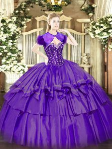 Custom Fit Floor Length Purple Sweet 16 Dresses Sweetheart Sleeveless Lace Up