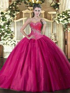 Ball Gowns 15 Quinceanera Dress Fuchsia Sweetheart Tulle Sleeveless Floor Length Lace Up