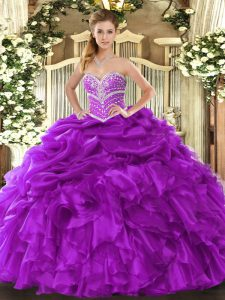 Graceful Purple Lace Up Sweetheart Beading and Ruffles and Pick Ups Vestidos de Quinceanera Organza Sleeveless
