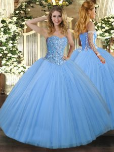 Aqua Blue Tulle Lace Up Sweetheart Sleeveless Floor Length Sweet 16 Dresses Beading