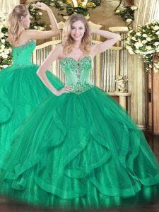 Floor Length Turquoise Quinceanera Dress Sweetheart Sleeveless Lace Up
