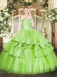 Cute Sleeveless Organza and Taffeta Lace Up Sweet 16 Dresses for Military Ball and Sweet 16 and Quinceanera