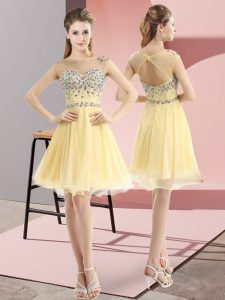 Light Yellow Side Zipper Prom Dresses Beading Sleeveless Mini Length