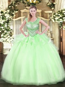 Best Selling Scoop Sleeveless Sweet 16 Dress Floor Length Beading Apple Green Organza