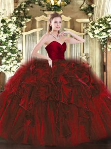 Wine Red Sleeveless Organza Zipper Quinceanera Gowns for Military Ball and Sweet 16 and Quinceanera
