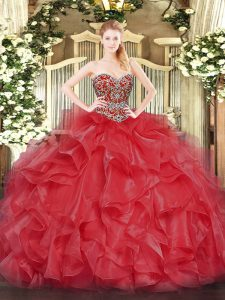 Coral Red Sleeveless Beading Floor Length 15 Quinceanera Dress