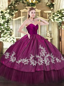 High Class Floor Length Zipper Quinceanera Gown Fuchsia for Military Ball and Sweet 16 and Quinceanera with Embroidery