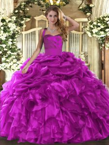 Trendy Fuchsia Sleeveless Ruffles and Pick Ups Floor Length Quinceanera Gown