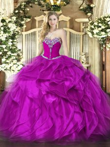Fancy Ball Gowns Quinceanera Gown Fuchsia Sweetheart Organza Sleeveless Floor Length Lace Up