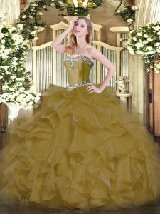 Brown Sleeveless Organza Lace Up Sweet 16 Quinceanera Dress for Military Ball and Sweet 16 and Quinceanera