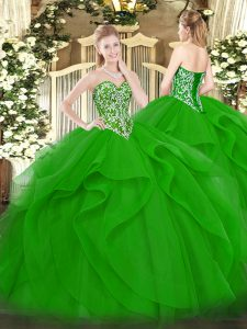 Shining Green Sweetheart Neckline Beading and Ruffles Sweet 16 Dresses Sleeveless Lace Up