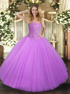 Lilac Tulle Lace Up 15th Birthday Dress Sleeveless Floor Length Beading