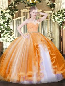 Orange Quinceanera Dresses Military Ball and Sweet 16 and Quinceanera with Beading and Lace and Ruffles Sweetheart Sleeveless Zipper