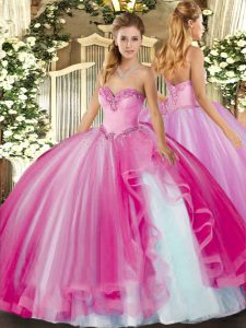 Fuchsia Lace Up 15th Birthday Dress Beading and Ruffles Sleeveless Floor Length