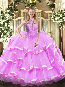 Chic Lilac Sleeveless Floor Length Beading Lace Up 15 Quinceanera Dress
