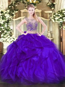Stylish Purple Sleeveless Beading and Ruffles Floor Length Quince Ball Gowns