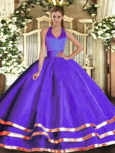 Decent Purple Sleeveless Ruffled Layers Floor Length Quinceanera Dresses