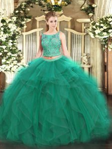 Fashionable Turquoise Sleeveless Floor Length Beading and Ruffles Lace Up Vestidos de Quinceanera