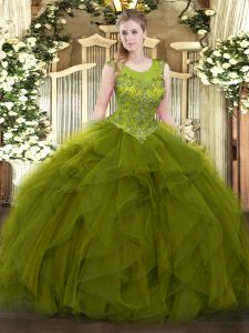 Beautiful Olive Green Ball Gowns Organza Scoop Sleeveless Beading and Ruffles Floor Length Zipper 15 Quinceanera Dress