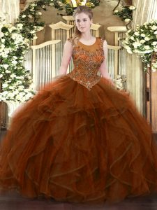 Trendy Floor Length Brown Vestidos de Quinceanera Tulle Sleeveless Beading and Ruffles
