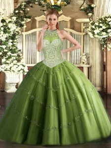 Low Price Halter Top Sleeveless Tulle Vestidos de Quinceanera Beading and Appliques Lace Up