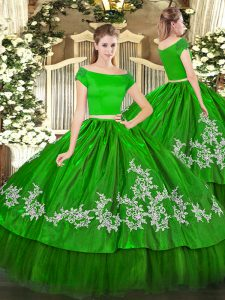 Off The Shoulder Short Sleeves Organza and Taffeta Sweet 16 Quinceanera Dress Embroidery Zipper