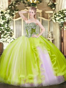 Elegant Yellow Green Ball Gowns Tulle Strapless Sleeveless Beading and Ruffles Floor Length Lace Up Quinceanera Gowns