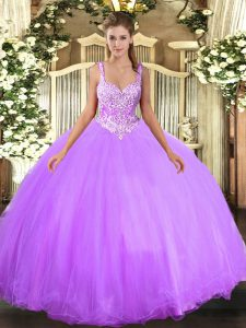 Best Lavender Ball Gowns Beading Sweet 16 Dress Lace Up Tulle Sleeveless Floor Length