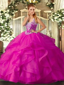 Amazing Fuchsia Vestidos de Quinceanera Military Ball and Sweet 16 and Quinceanera with Beading and Ruffles Straps Sleeveless Lace Up