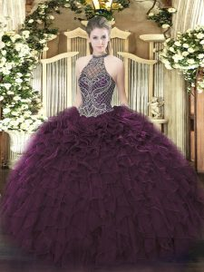 Inexpensive Sleeveless Floor Length Beading and Ruffles Lace Up Quinceanera Gowns with Dark Purple
